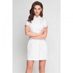 Платье-халат белый с розовым кантом